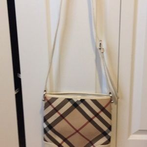 Burberry Super Nova Check Cross Body Bag White